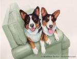 Corgis on Couch (8x10 in Transparent Watercolor)