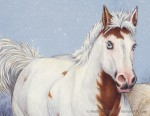 Horses in Snow (detail from 18 x 24 in Transparent Watercolor on Arches 140lb HP paper)