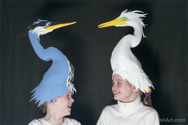 Great Blue Heron and Great Egret Hats (Sheet Craft Foam)