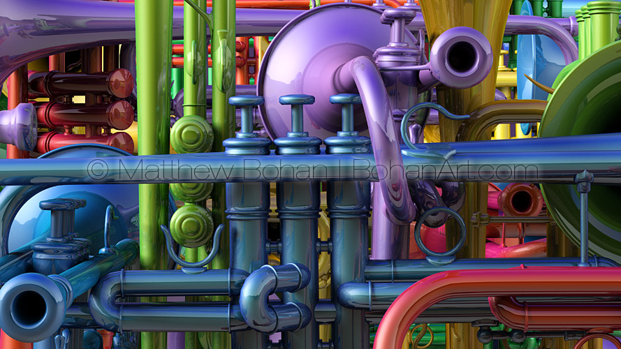Rainbow Trumpets (Lightwave3d)