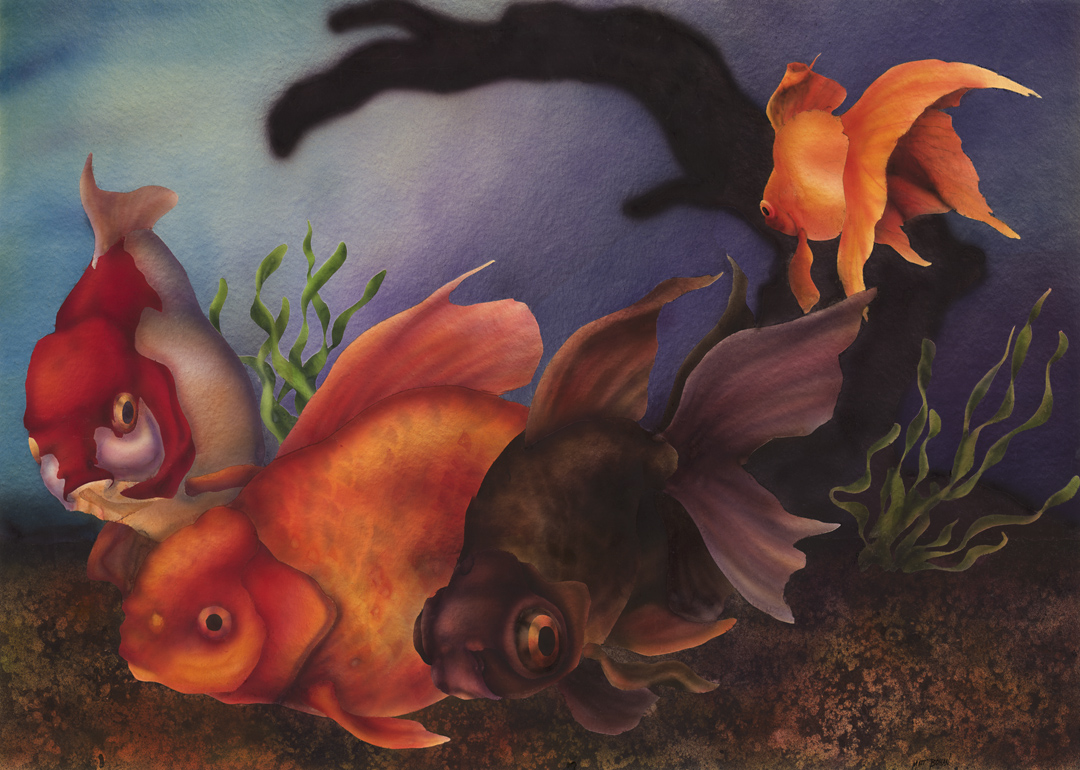 Three Fancy Goldfish Transparent Watecolor Airbrush(21 x 29.5 inches)