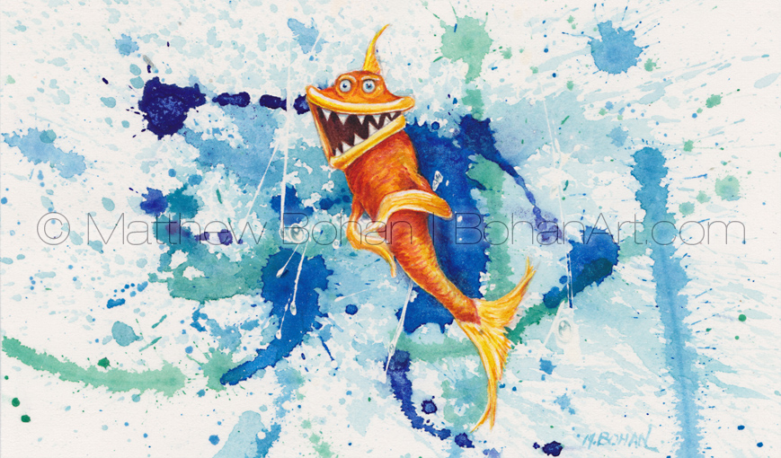 Psycho Goldfish (3.5x5.75 inch Transparent Watercolor)