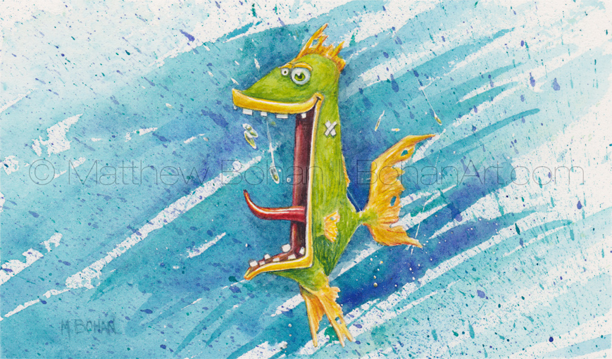 Trash Fish (3.5x5.75 inch Transparent Watercolor)